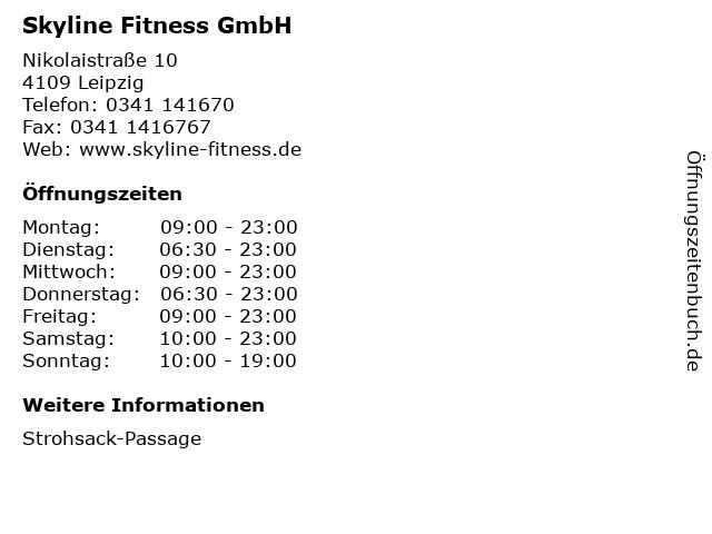 Skyline Fitness GmbH in Leipzig: Adresse und Öffnungszeiten