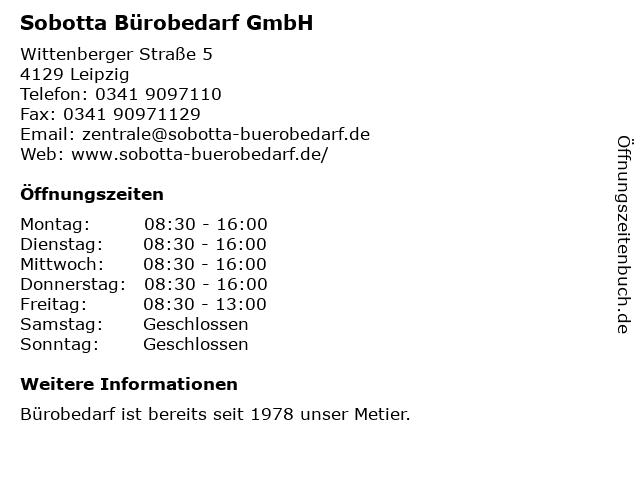 ᐅ öffnungszeiten Sobotta Bürobedarf Gmbh Wittenberger Straße 5