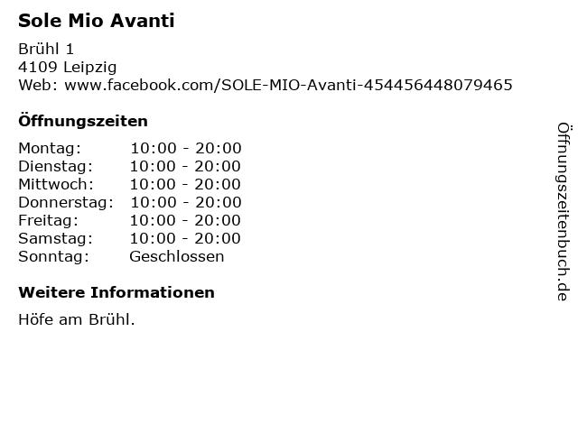 Sole Mio Avanti in Leipzig: Adresse und Öffnungszeiten