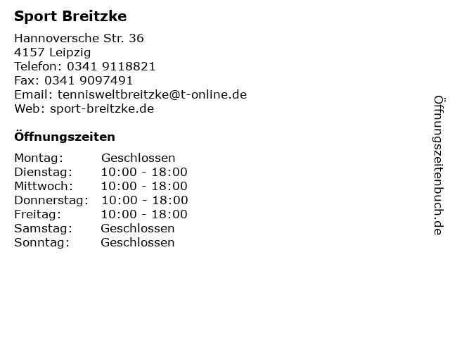 Sport Breitzke in Leipzig: Adresse und Öffnungszeiten