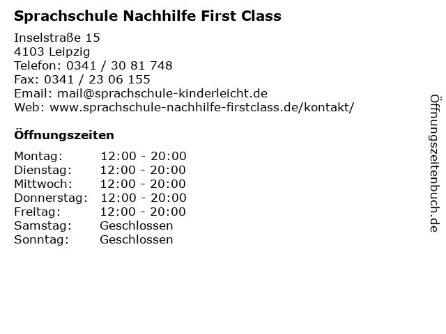 Sprachschule Nachhilfe First Class in Leipzig: Adresse und Öffnungszeiten