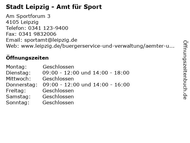 Stadt Leipzig - Amt für Sport in Leipzig: Adresse und Öffnungszeiten