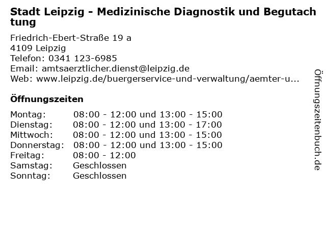Stadt Leipzig - Medizinische Diagnostik und Begutachtung in Leipzig: Adresse und Öffnungszeiten