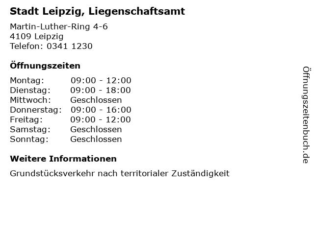 Stadt Leipzig, Liegenschaftsamt in Leipzig: Adresse und Öffnungszeiten