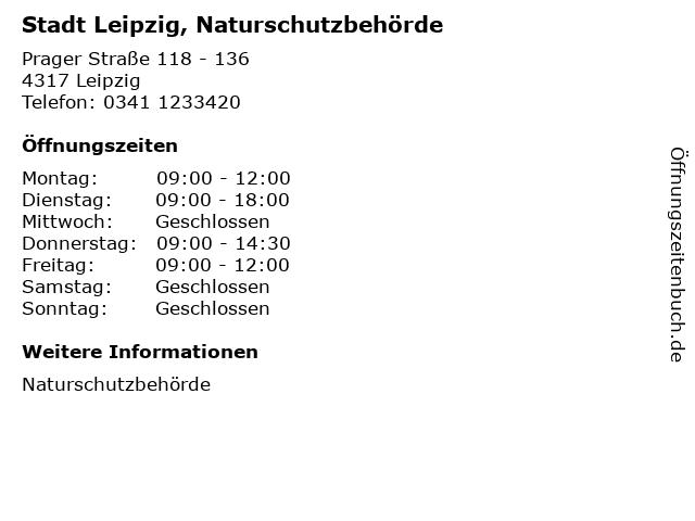 Stadt Leipzig, Naturschutzbehörde in Leipzig: Adresse und Öffnungszeiten