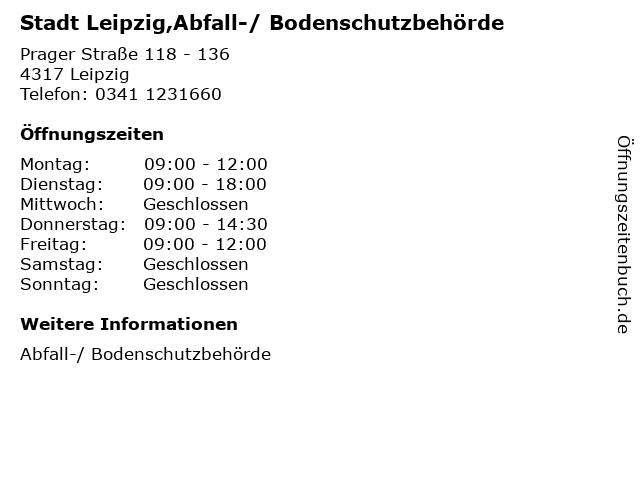 Stadt Leipzig,Abfall-/ Bodenschutzbehörde in Leipzig: Adresse und Öffnungszeiten