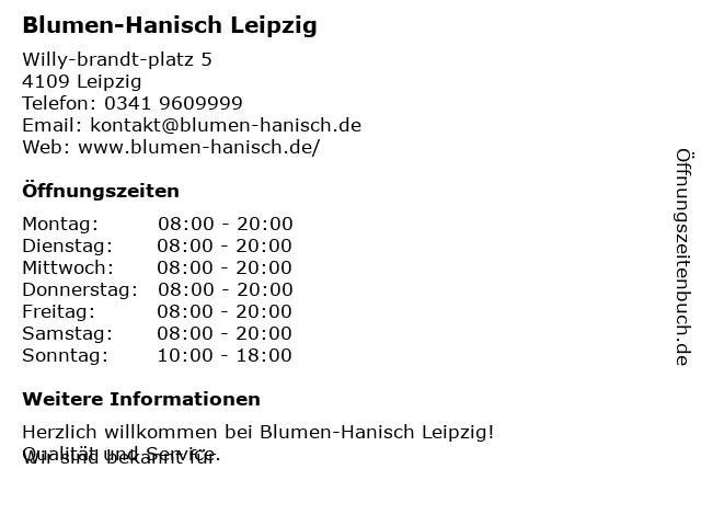 Stephan Hanisch Blumeneinzelhandel GmbH in Leipzig: Adresse und Öffnungszeiten