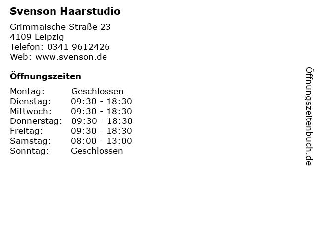 Svenson Haarstudio in Leipzig: Adresse und Öffnungszeiten