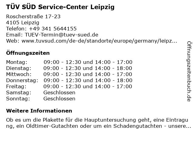 TÜV SÜD Service-Center Leipzig in Leipzig: Adresse und Öffnungszeiten