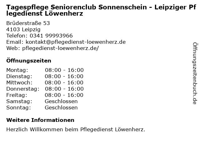 Tagespflege Sonnenschein - Leipziger Pflegedienst Löwenherz in Leipzig: Adresse und Öffnungszeiten