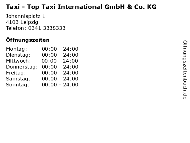 Taxi - Top Taxi International GmbH & Co. KG in Leipzig: Adresse und Öffnungszeiten