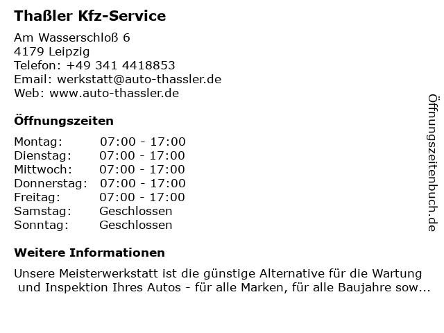 Thaßler Kfz-Service in Leipzig: Adresse und Öffnungszeiten