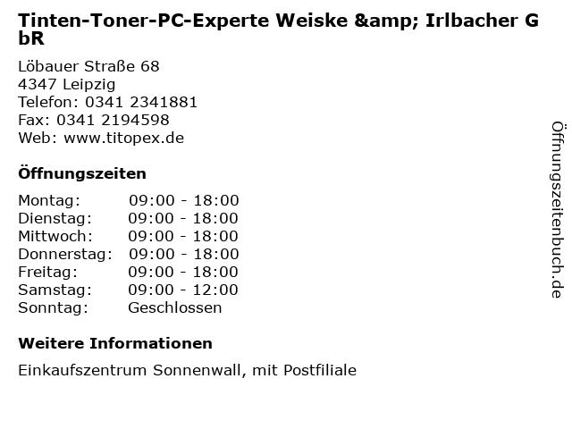 Tinten-Toner-PC-Experte Weiske & Irlbacher GbR - DHL Paketshop in Leipzig: Adresse und Öffnungszeiten