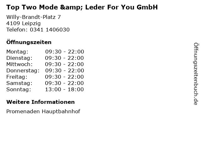 Top Two Mode & Leder For You GmbH in Leipzig: Adresse und Öffnungszeiten