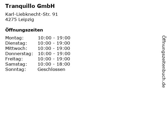 Tranquillo GmbH in Leipzig: Adresse und Öffnungszeiten