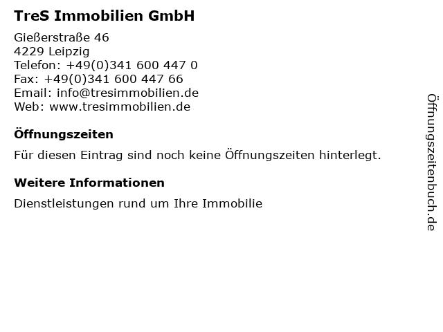 TreS Immobilien GmbH in Leipzig: Adresse und Öffnungszeiten