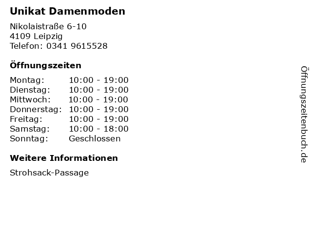 Unikat Damenmoden in Leipzig: Adresse und Öffnungszeiten