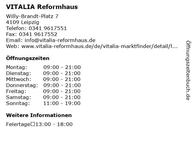 VITALIA Reformhaus in Leipzig: Adresse und Öffnungszeiten