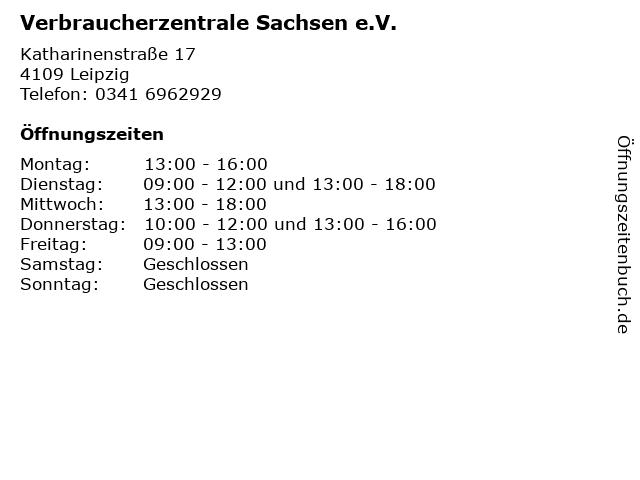 Verbraucherzentrale Sachsen e.V. in Leipzig: Adresse und Öffnungszeiten