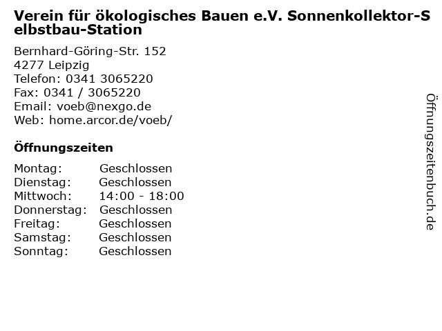 Verein für ökologisches Bauen e.V. Sonnenkollektor-Selbstbau-Station in Leipzig: Adresse und Öffnungszeiten