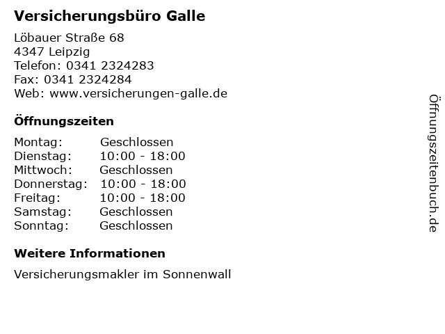 Versicherungsbüro Galle in Leipzig: Adresse und Öffnungszeiten