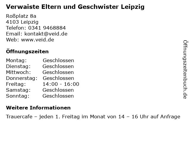 Verwaiste Eltern und Geschwister Leipzig in Leipzig: Adresse und Öffnungszeiten