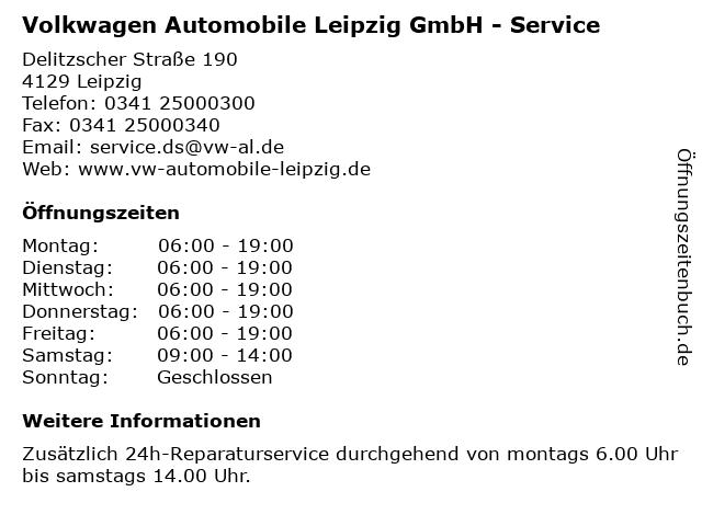 Volkwagen Automobile Leipzig GmbH - Service in Leipzig: Adresse und Öffnungszeiten
