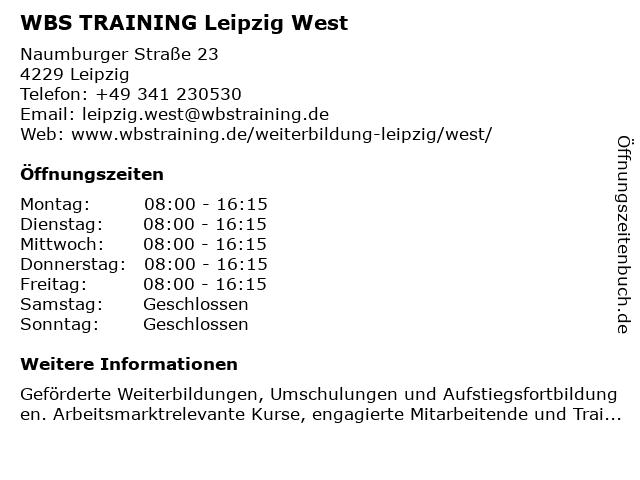 WBS TRAINING Leipzig West in Leipzig: Adresse und Öffnungszeiten