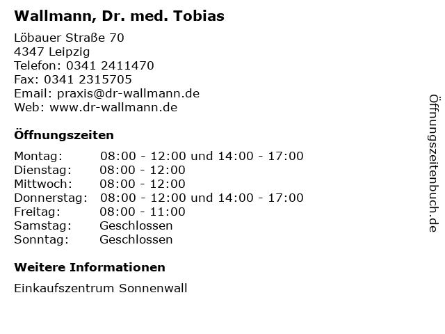Wallmann, Dr. med. Tobias in Leipzig: Adresse und Öffnungszeiten