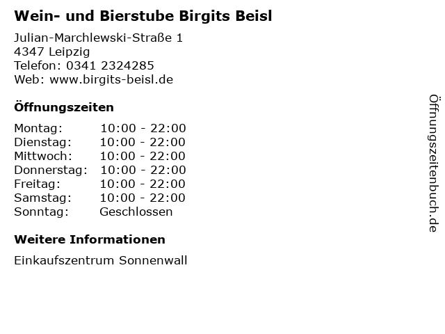 Wein- und Bierstube Birgits Beisl in Leipzig: Adresse und Öffnungszeiten