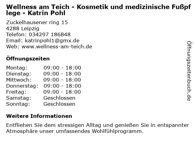 Wellnes am Teich Katrin Pohl in Leipzig: Adresse und Öffnungszeiten