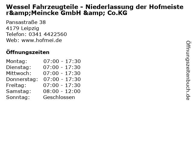Wessel Fahrzeugteile - Niederlassung der Hofmeister&Meincke GmbH & Co.KG in Leipzig: Adresse und Öffnungszeiten