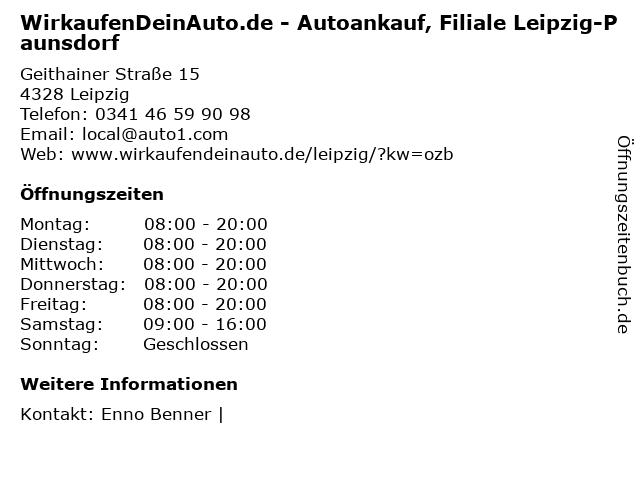 WirkaufenDeinAuto.de - Autoankauf, Filiale Leipzig-Paunsdorf in Leipzig: Adresse und Öffnungszeiten