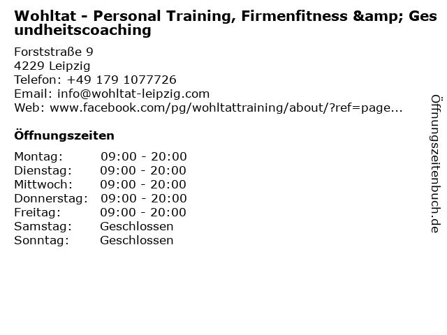 Wohltat - Personal Training, Firmenfitness & Gesundheitscoaching in Leipzig: Adresse und Öffnungszeiten