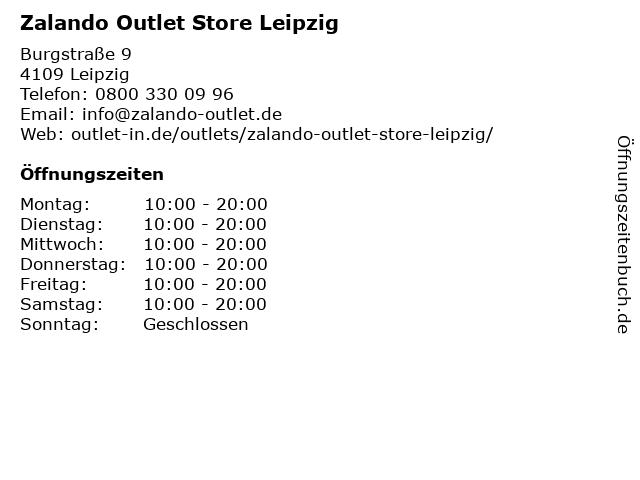 ᐅ Offnungszeiten Zalando Outlet Store Leipzig Burgstrasse 9 In
