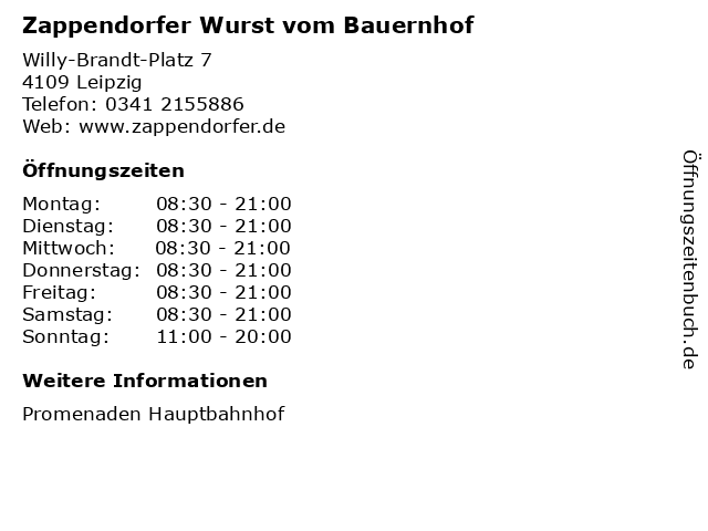 Zappendorfer Wurst vom Bauernhof in Leipzig: Adresse und Öffnungszeiten