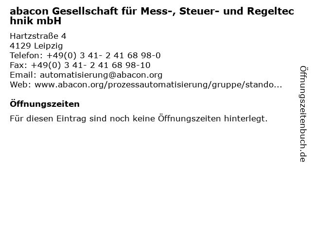 abacon Gesellschaft für Mess-, Steuer- und Regeltechnik mbH in Leipzig: Adresse und Öffnungszeiten