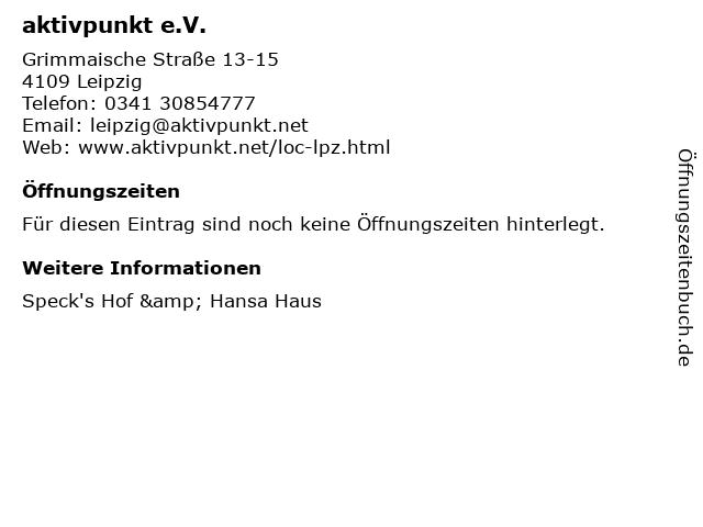 aktivpunkt e.V. in Leipzig: Adresse und Öffnungszeiten