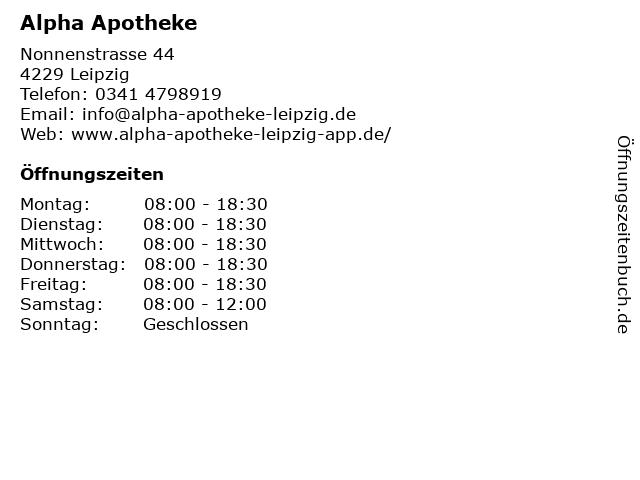 alpha - Apotheke in Leipzig: Adresse und Öffnungszeiten