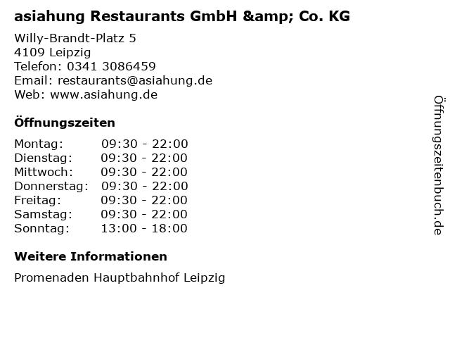 asiahung Restaurants GmbH & Co. KG in Leipzig: Adresse und Öffnungszeiten
