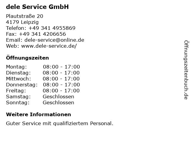 dele Service GmbH in Leipzig: Adresse und Öffnungszeiten