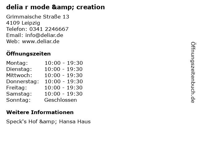 delia r mode & creation in Leipzig: Adresse und Öffnungszeiten
