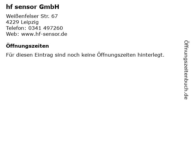 hf sensor GmbH in Leipzig: Adresse und Öffnungszeiten