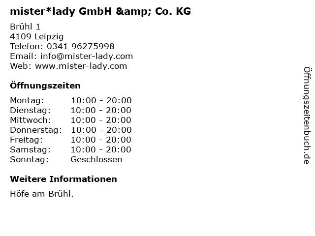 mister*lady GmbH & Co. KG in Leipzig: Adresse und Öffnungszeiten