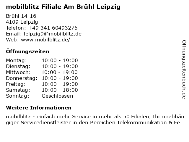 mobilblitz Filiale Am Brühl Leipzig in Leipzig: Adresse und Öffnungszeiten