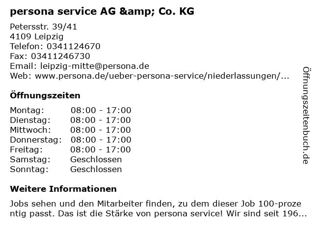 persona service AG & Co. KG in Leipzig: Adresse und Öffnungszeiten