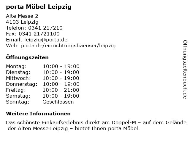ᐅ öffnungszeiten Porta Möbel Alte Messe 2 In Leipzig