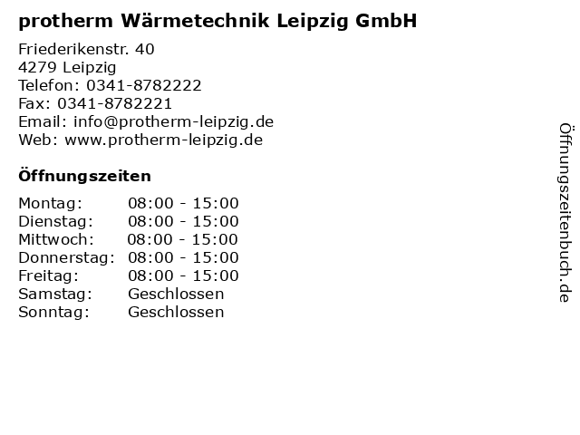 protherm Wärmetechnik Leipzig GmbH in Leipzig: Adresse und Öffnungszeiten