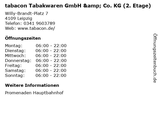 tabacon Tabakwaren GmbH & Co. KG (2. Etage) in Leipzig: Adresse und Öffnungszeiten