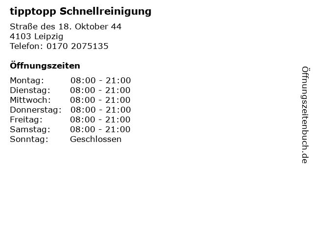 tipptopp Schnellreinigung in Leipzig: Adresse und Öffnungszeiten